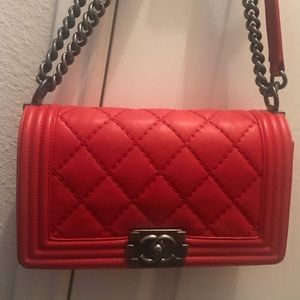 Chanel Boy Medium Red Calfskin Leather